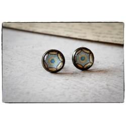 Kolczyki wkrętki szklany kaboszon ~Mandala~