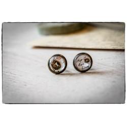 Kolczyki wkrętki szklany kaboszon ~Nest~