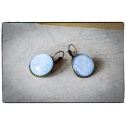 Kolczyki szklany kaboszon ~Wielki Błękit~