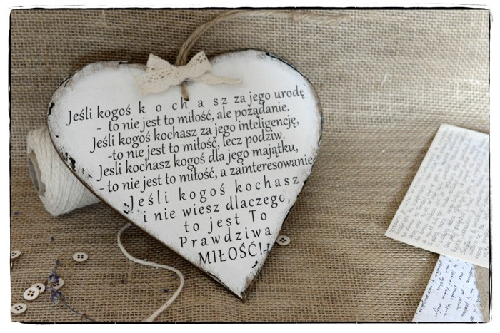 Szyld Tabliczka Serce Cytat Motto O Miłości Bibelociarnia